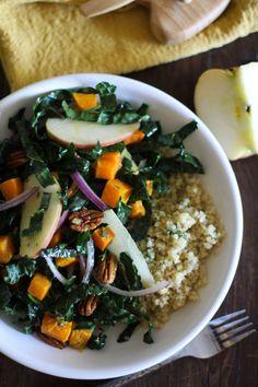Roasted Butternut Squash Kale Salad with Orange-Sage Dressing   http://potluck.ohmyveggies.com/