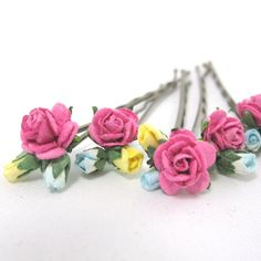 Pink roses and blue and yellow rosebuds Flower Hair Pins Floral Wedding Bridal Bridesmaid Accessory on Etsy, 28,36kr