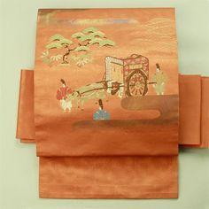 Nagoya obi / 観劇・鑑賞などにも 肉桂色地 牛車と風景柄 お太鼓柄名古屋帯    #Kimono #Japan  http://www.rakuten.co.jp/aiyama/