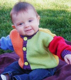 Cardigan, blue, green, yellow, bright, SATeamEtsy--good inspiration for color changes!!