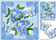 Pretty Blue flowers and butterflies in ornate frame 8x8 on Craftsuprint - Add To…