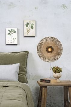 Applique Kalimantan Ø44 cm en Bambou naturel au design naturel par Good & Mojo It's About Romi, Home Decor Inspiration, Tapestry, Throw Pillows, Living Room, Bed, Design, Products, Room Wall Decor