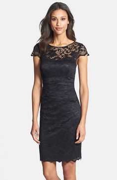 Eliza J Cap Sleeve Lace Sheath Dress at Nordstrom.com. Black lace brings out your seductive side in a bateau-neck cocktail dress that hugs every curve and finishes with an alluring cutout in back.
