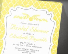 Yellow Quatrefoil Bridal Shower Invitation