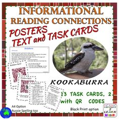 This Unit will assist students to read, process and understand informational texts by making connections, close thinking and QR codes. This is a non-fiction, informational text and tasks cards Reading Center Unit based on KOOKABURRAS. Teaching Reading Strategies, Reading Comprehension Skills, Reading Passages, Reading Resources, Reading Skills, Reading Stations, Reading Centers, Reading Task Cards, Nonfiction