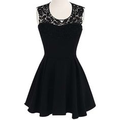 Black Lace Backless Sleeveless Dress ($25) ❤ liked on Polyvore