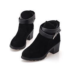 Fashion Women New Stacked Chunky Heel Booties Faux Suede Motorcycle Buckle Strap Ankle Boot ** Find out more about the great product at the image link.