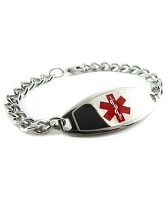 My Identity Doctor Red Black//White Millefiori Glass Pattern Pre-Engraved /& Customized Celiac Disease Medical Bracelet