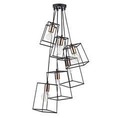 Dar Tower 6 Light Cluster Ceiling Pendant Light In Black With Chrome from Lights 4 Living Direct Lighting, Dar Lighting, Lighting Ideas, Stairway Lighting, Island Lighting, Bedroom Lighting, Industrial Pendant Lights, Pendant Lighting, Industrial Chic