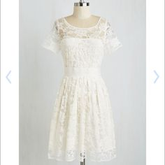 ‼️$10 Off ‼️Adrift on a Cloud Lace  Wedding Dress Adrift on a Cloud Dress - Purchased at Anthroplogie  Description: Dressed in the floral-patterned overlay of this white dress by BB Dakota, you're feeling wonderfully lighthearted and lovely! Lined in ivory-white and delightfully ladylike, this feminine frock can be seen on this GWS feature too! Categories: Wedding Dresses Color: Ivory  Collection: Garden Party Anthropologie Dresses