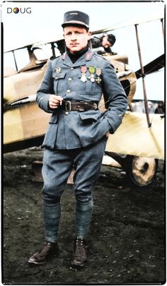 """French born American Major Raoul Lufbery, standing by his Spad S.VII of 'Escadrille de Lafayette'. He was shot down over French lines on the 18th May 1918. (Captain Eddie Rickenbacker, said of Lufbery: """"Everything I learned, I learned from Lufbery."""")"""