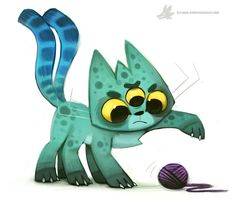 Daily Painting 886. Alien Cat by Cryptid-Creations.deviantart.com on @DeviantArt