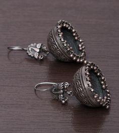 Oxidised Silver Textured Jhumki Earrings