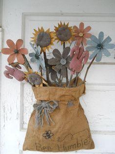 primitive & folk art flowers in a burlap bag