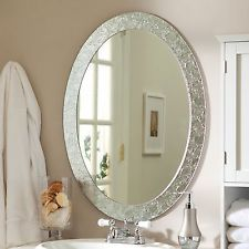 Décor Wonderland Frameless Crystal Wall Mirror - x in. - The Frameless Crystal Wall Mirror glows with elegance that will blend beautifully with any decor. This wonderful oval mirror adds a vibrant element to. Decorative Bathroom Mirrors, Wall Mirrors Entryway, White Wall Mirrors, Silver Wall Mirror, Living Room Mirrors, Round Wall Mirror, Mirror Art, Mirror Hanging, Mirror Panels