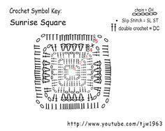 SunRise Granny Square  http://crochet-mania-grannysquare.blogspot.fr/2009/02/sunrise-granny-square-video-tutorial.html