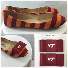 Virginia Tech Ballet Flats Size 8 Shoe Clips not included with purchase of shoes. Separate listing. CLIPS SOLD Official Licensed Product VT Virginia Tech Ballet Flats. Size 8 The school colors Chicago Maroon & Burnt Orange in alternating colors.  Add shoe clips to show even more school spirit. (Shoe bows sold separately) see listing.  Synthetic uppers Licensed Apparel Shoes Flats & Loafers