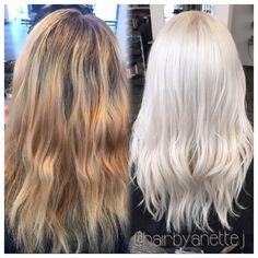 platinum blonde with olaplex!:) #olaplex #wella #beforeandafter #haircolorist