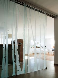 Frosted Glass Design, Sandblasted Glass, Mirror Effect, Home Office Design, Glass Door, Curtains, Doors, Interior, House