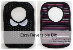 DIY a Reversible Bib: Great Baby Gift . Free tutorial with pictures on how to make a baby bib in under 60 minutes by sewing with pattern, fabric, and ribbing. How To posted by Elisa C. in the Sewing section Difficulty: Simple. Baby Sewing Projects, Sewing Hacks, Sewing Tutorials, Sewing Crafts, Fabric Crafts, Sewing Ideas, Love Sewing, Sewing For Kids, Sewing Patterns Free