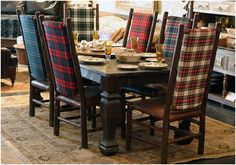 Whether you have identical dining chairs or a mixture you can bring the tartan theme into play by bringing the whole ensemble together using the same or a variety of tartans and plaids.I would totally have a tartan chair or bench! Tartan Chair, Rustic Furniture, Outdoor Furniture Sets, Cabin Furniture, Furniture Dolly, Bedroom Furniture, Plaid Decor, Interior Design Photos, Guest Rooms