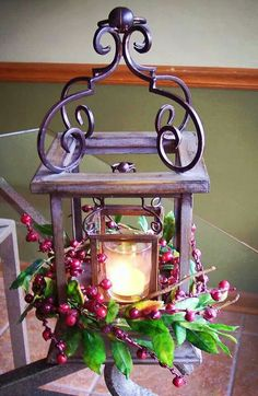 Pretty decor w/berries, the lanterns are from Willow House! Lanterns Decor, Candle Lanterns, Candle Sconces, Candles, All Things Christmas, Christmas Holidays, Christmas Crafts, Merry Christmas, Xmas
