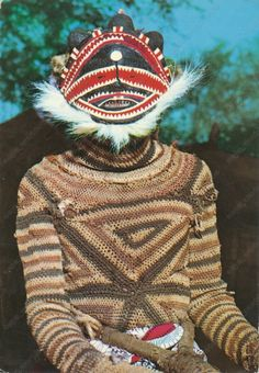 Luvale dancer, Makishi festival. Postcard, Northern Rhodesia