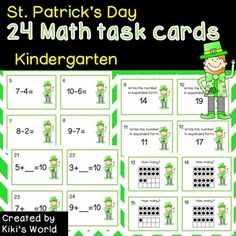 St. Patrick's Day Math task cards *****************************************************************************This product has 24 Math task cards for Kindergarten as well as a recording sheet and answer sheet. You can put the task cards around your classroom on St.