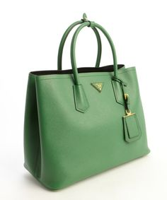 green leather expandable side top handle tote