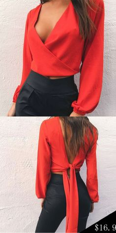 Red V-neck Bow Tie Detail Open Back Long Sleeve Blouse Source by franciscatapper blouses fashion Mode Chic, Mode Style, Fall Outfits, Casual Outfits, Cute Outfits, Red Outfits, Casual Shoes, Summer Outfits, Red Blouses