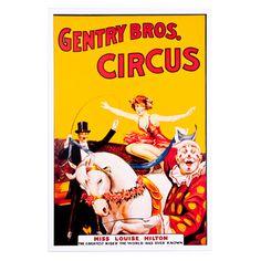 Gentry Bros Circus vintage poster