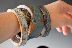 Ceramic bracelets in silky glazes - set of 3