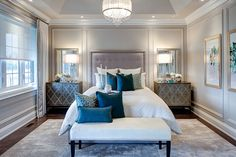 Bedroom Design with Tray Ceiling painted the same as walls | Jane Lockhart Interior Design