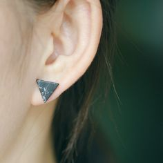Minimalist Simple Fashion Punk Black White Marble Faux Stone Geometric Triangle Stud Earrings For Women Girl Cheap Price