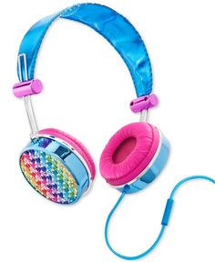 Enjoy your music in style with these pretty headphones from Lisa Frank.   Wipe with dry cloth   Imported   Stereo overhead headphones   Rhinestone and shimmer fabric details   Built in microphone and