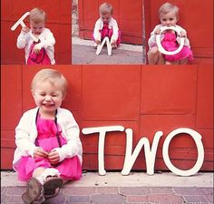 """Great idea for a toddler shoot! I know little ones can be tough sometimes. So give them the letters individually that say how old they are and let them check the props out, you can get some cute shots. Then have candy ready to go!! Pose them next to the letters and say """"Say cheese"""" with the candy in hand, there you go! You have your perfect two year old pose. ❤ It ends up darling and parents/grandparents love it."""