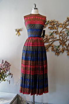 50s Dress //  Vintage 1950s Silk Print Maxi Dress by xtabayvintage, $198.00