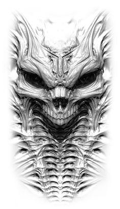 Obsessed With Skulls — Sweet skull art by Михаил Ковалёв. Evil Tattoos, Skull Tattoos, Body Art Tattoos, Evil Skull Tattoo, Skull Tattoo Design, Skull Design, Tattoo Sketches, Tattoo Drawings, Biomech Tattoo