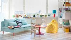 fröhliche Farben Wohnzimmer Wohnen Idee gelber Sitzsack