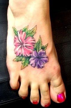 ankle tattoos, feet tattoos, hibiscus tattoo ideas, initials, foot tattoo, tattoo design, a tattoo, tatoo idea, flower