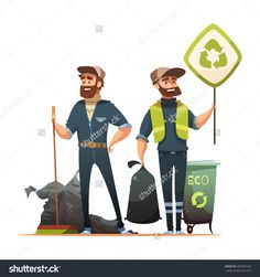 Ecologically Responsible Waste And Garbage Collecting For Recycling Cartoon Poster With Professional And Volunteer Garbageman Vector Illustration - 489783184 : Shutterstock