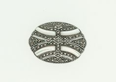 Mother of Pearl and Marcasite Brooch Marcasite Jewelry, Silver Brooch, Costume Jewelry, Brooches, Pearls, Sterling Silver, Tattoos, Vintage, Tatuajes
