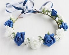 blue and white flower girl head wreath - Google Search