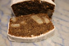 Pear and spices in carob flour cake.
