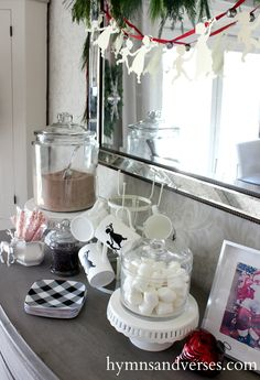 2015 Hymns & Verses Holiday Home Tour - Hymns and Verses Made the crock pot hot chocolate, had marshmallows, White chocolate    Pieces n candy canes to stir with.