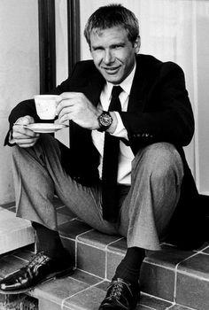 Harrison Ford, Han Solo, Indiana jones, what else? This man is awesome! Harrison Ford, Harry Harrison, Portrait Studio, Photo Portrait, Portrait Photography, People Drinking Coffee, Drinking Tea, Photo Vintage, Vintage Air
