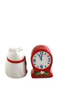 Mouse and Clock Salt & Pepper Shakers - Red/White