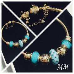 PANDORA Gold Bracelet with Faceted Teal Murano and Gold Charms Pandora Bracelets, Pandora Jewelry, Pandora Gold, Blue Charm, Pandoras Box, Bracelet Designs, Charms, Creations, Jewelry Design