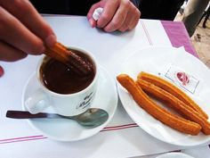 Chocolate and churros in #Barcelona. http://gettingcloseto.com/blog/category/spain/#food #travel