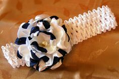 "Navy blue and white ""Sophia"" silky shabby flower baby headband hair clip hair bow girls hair bows girls accessories  binding creations"